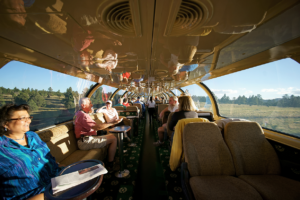 Several types of seats are available on Grand Canyon Railway including luxury
