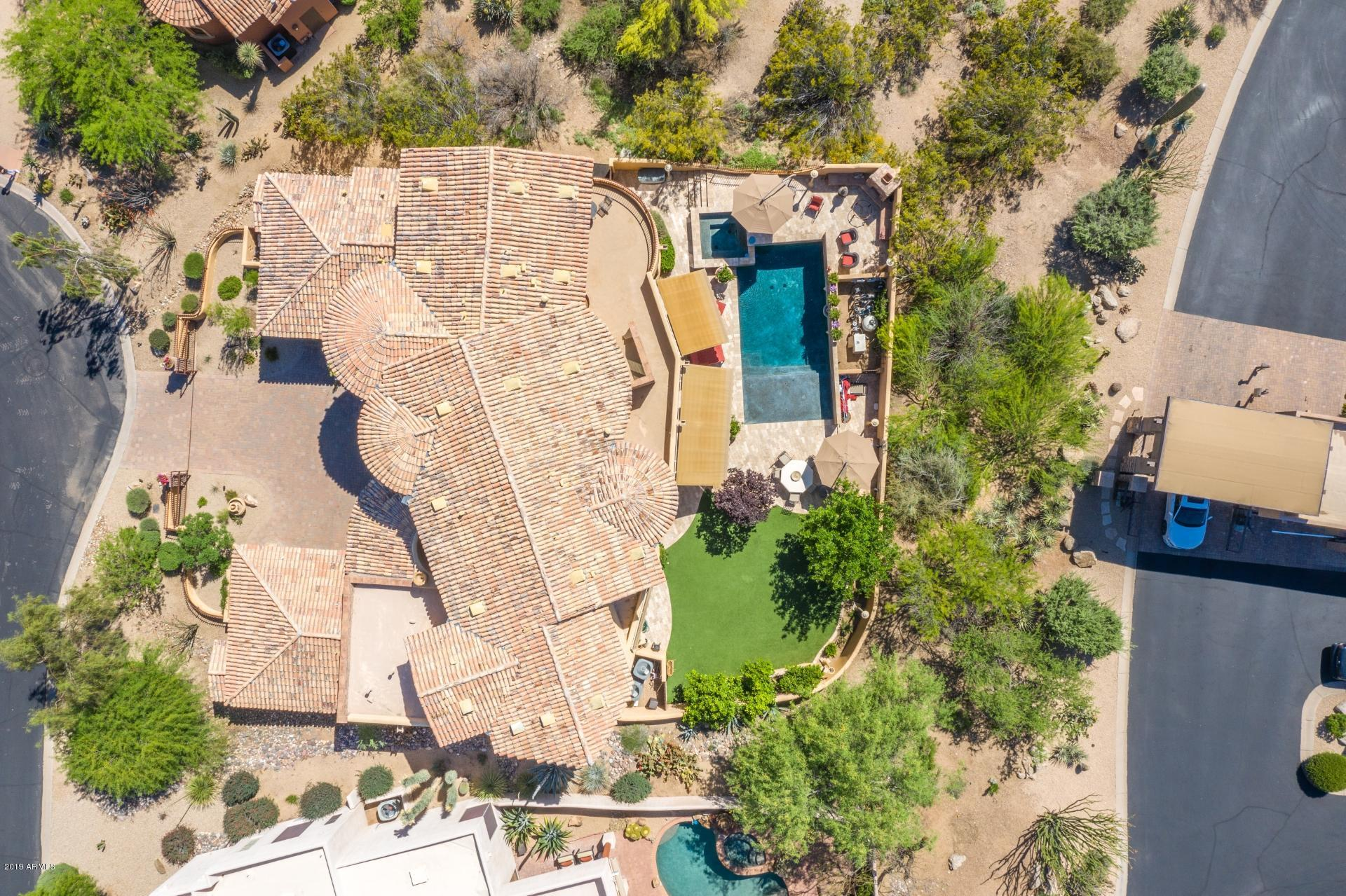 Aerial View of AZ home with pool