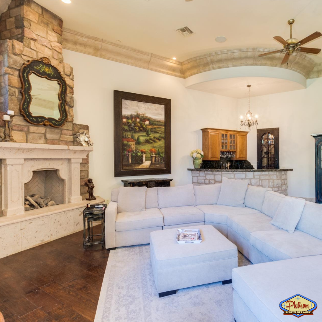 Luxury home living room with fireplace